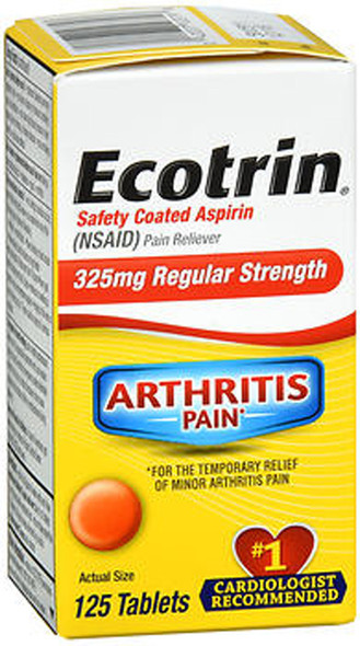 Ecotrin Safety Coated Aspirin 325mg Regular Strength - 125 Tablets
