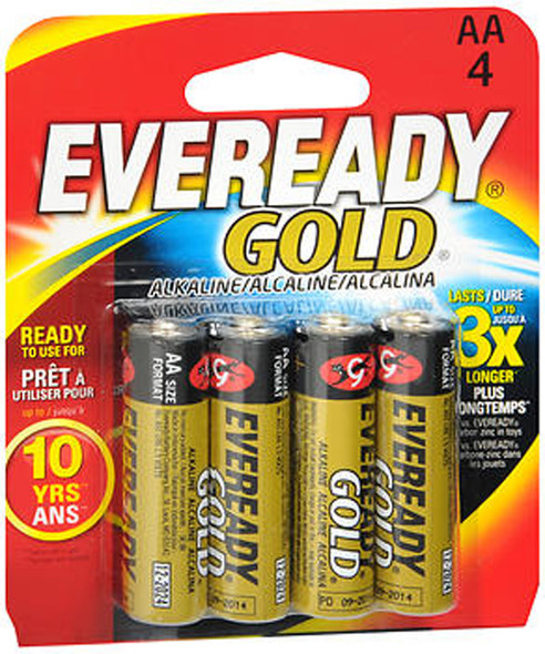 Eveready Gold Alkaline Batteries AA - 4 ct