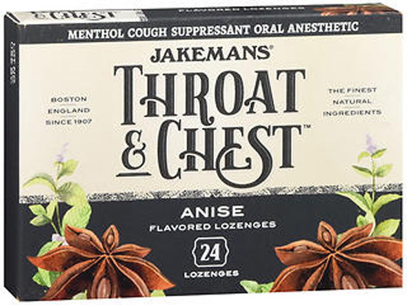 Jackman's Throat Chest Lozenges Anise Menthol - 6 packs of 24