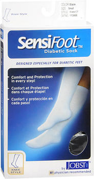 JOBST SensiFoot Diabetic Socks Black Small - 1 Pair