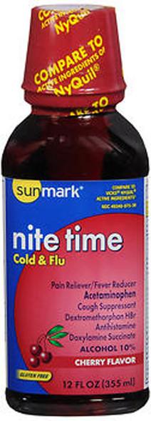 Sunmark Nite Time, Cold & Flu Liquid, Cherry Flavor - 12 oz