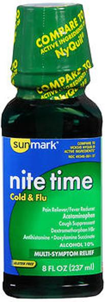 Sunmark Nite Time, Cold & Flu Liquid, Original Flavor - 8 oz