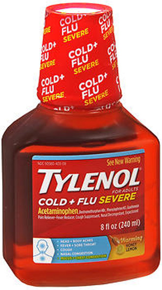 Tylenol Cold & Flu Severe Warming Liquid Honey Lemon - 8 oz