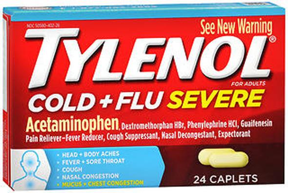 Tylenol Cold & Flu, Severe, Caplets - 24 caplets