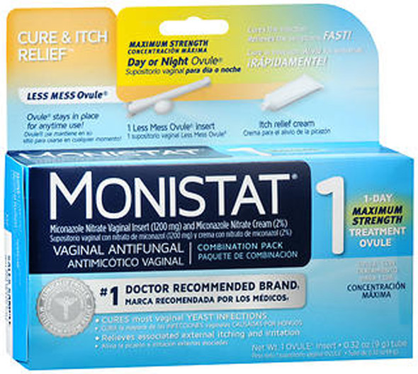 Monistat 1 Vaginal Antifungal Combination Pack Day or Night - 1 Each