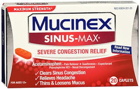 Mucinex Sinus-Max Severe Congestion Relief, Maximum Strength - 20 Caplets