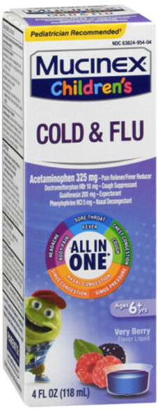 Mucinex Children's Cold, Cough & Sore Throat Liquid Mixed Berry Flavor - 4 oz