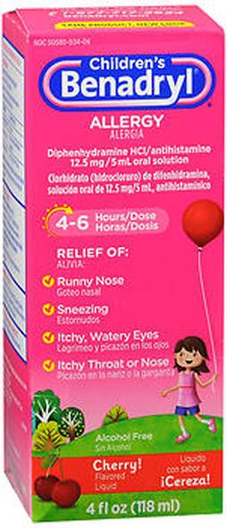 Benadryl Children's Allergy Liquid Cherry - 4 oz