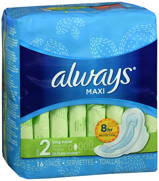 Always Maxi Pads with Flexi-Wings Long Super - 12pks of 16