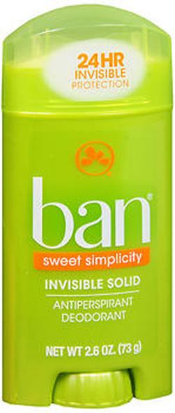 Ban Antiperspirant Deodorant Invisible Solid Sweet Simplicity - 2.6 oz