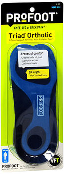 Profoot Triad Men's Orthotic Insoles Size 8-13 - Pair
