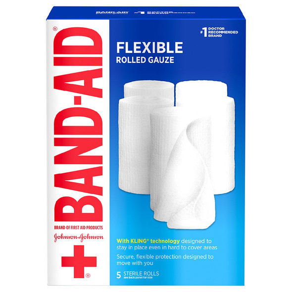 Band Aid Flexible Rolled Gauze for Wound Care Dressing, 3 in x 2.1 yd, 5 rolls