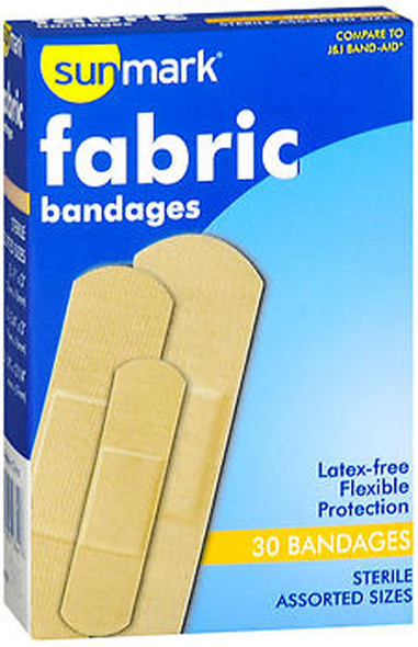 Sunmark Fabric Bandages Assorted Sizes - 30 ct