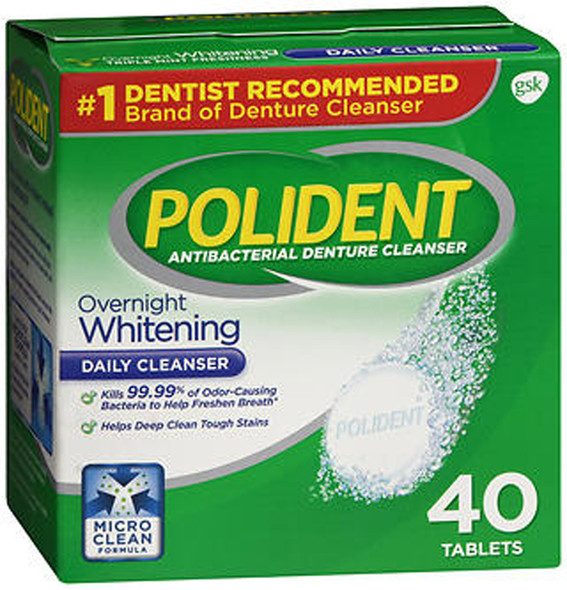 Polident Overnight Whitening Tablets - 40 ct