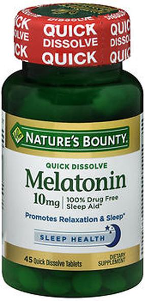 Nature's Bounty Melatonin 10 mg Quick Dissolve Maximum Strength Cherry Flavored - 45 Tablets