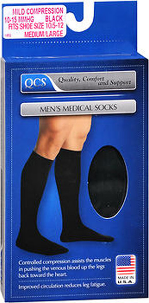QCS Men's Medical Socks Mild Black Medium/Large - 1 pair