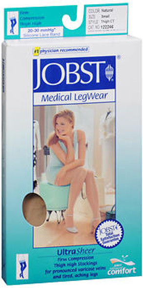 Jobst Medical LegWear Ultra Sheer 20-30mmHg* Women's Firm Support Thigh High Closed Toe Stockings Small Natural - 1 pr