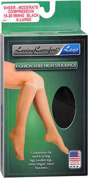 Loving Comfort Legs Fashion Knee High Stockings Moderate Compression Black X-Large - 1 pair