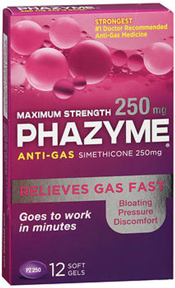 Phazyme Anti-Gas Softgels Maximum Strength - 12 gels