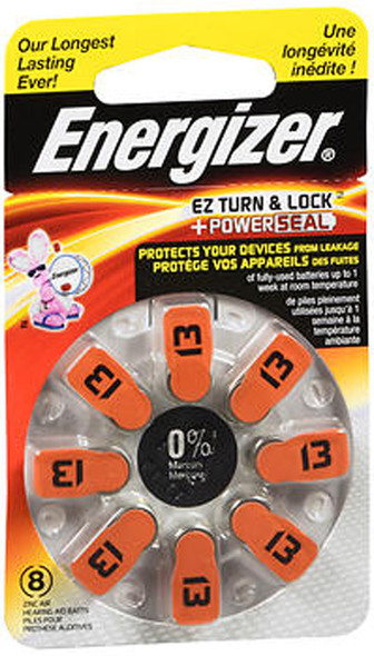 Energizer EZ Turn & Lock Power Seal Hearing Aid Batteries Size 13 - 8ct