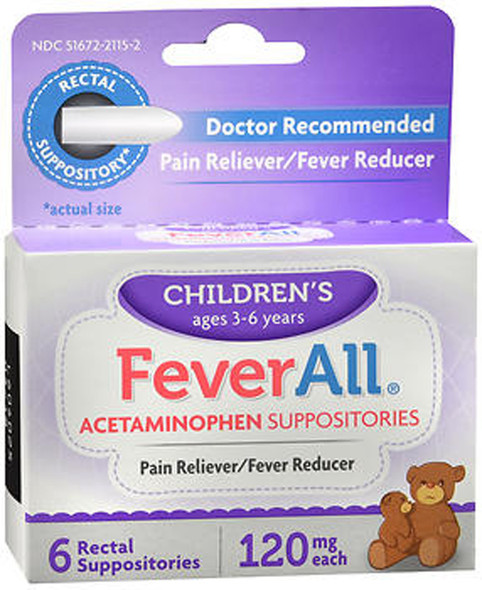 FeverAll Children's Acetaminophen Suppositories, 120 mg - 6 ea.