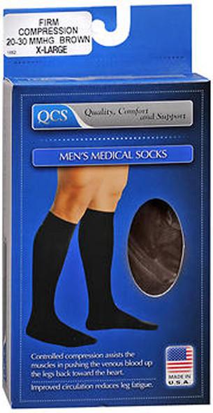 QCS Men's Medical Legwear Firm Brown Extra Large - 1 pair