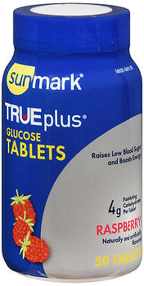 Sunmark True plus Glucose Tablets Raspberry - 50 Tablets