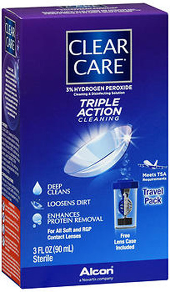 Clear Care Contact Lens Cleaning Disinfecting Solution Travel Pack - 3oz