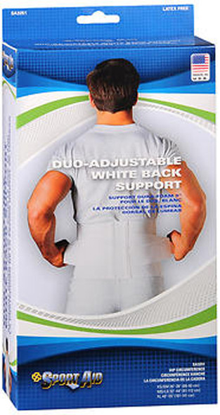 Sport Aid Duo-Adjustable White Back Support XS/SM - 1 ea.