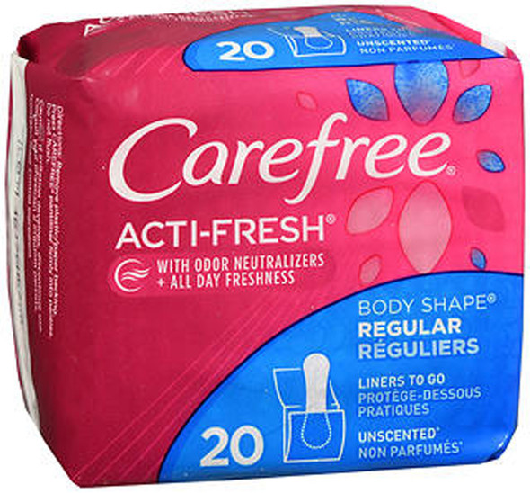 Carefree Acti-Fresh Body Shape Pantiliners Regular Unscented - 20 Liners