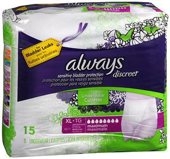 Always Discreet Underwear Maximum Absorbency Size Extra Large - 3pks of 15