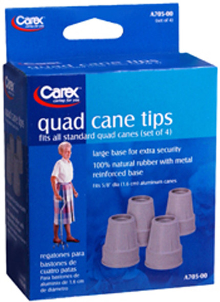 "Carex Quad Cane Tips, Grey 5/8"" - Set of 4"