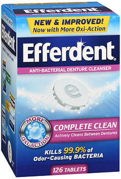 Efferdent Anti-Bacterial Denture Cleanser, Tablets - 126 Each