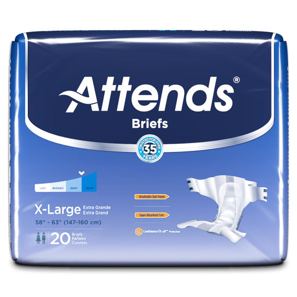 Attends Breathable Briefs Extra Large - 3pks of 20