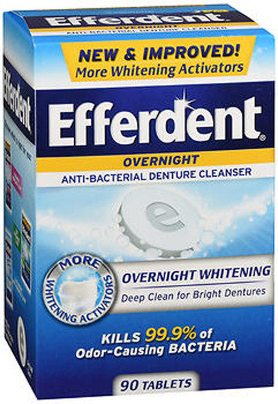 Efferdent PM Overnight Anti-Bacterial Denture Cleanser -  90 Tablets
