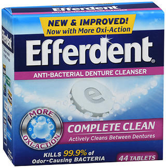 Efferdent Denture Cleanser Tablets Anti-Bacterial - 44 ct