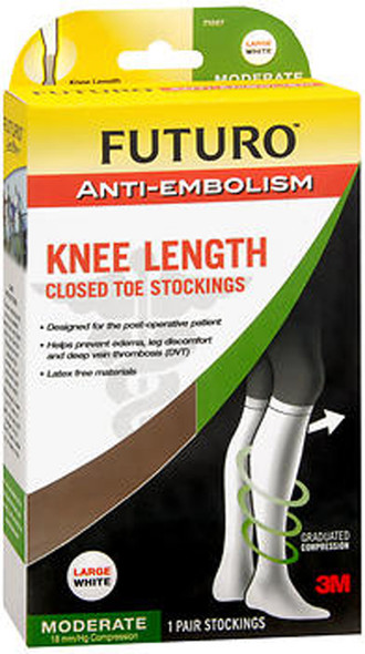 Futuro Anti-Embolism Knee Length Closed Toe Stockings Large White Moderate