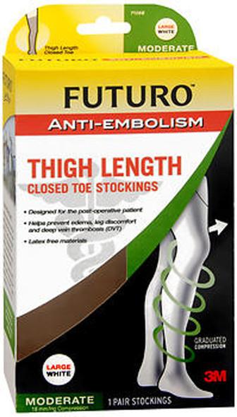 Futuro Anti-Embolism Thigh Length Closed Toe Stockings Large White Moderate - 1 pr
