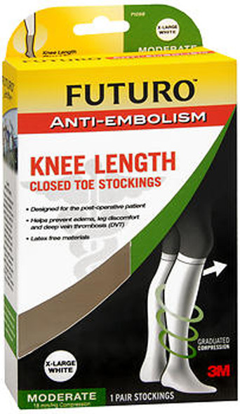 Futuro Anti-Embolism Knee Length Closed Toe Stockings X-Large White Moderate