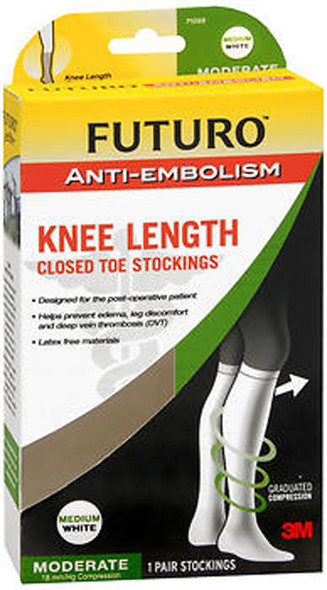 Futuro Anti-Embolism Knee Length Closed Toe Stockings Medium White Moderate