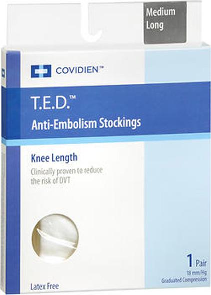 T.E.D. Anti-Embolism Stockings Knee Length Medium Long - 1 pair
