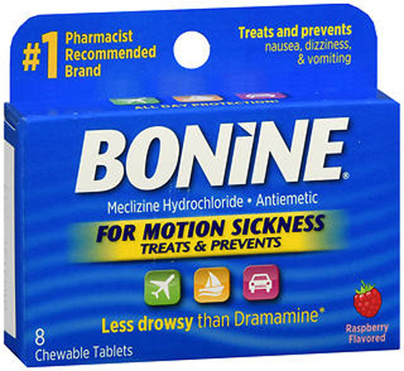 Bonine Motion Sickness Protection, Chewable Tablets, Raspberry - 8 ea