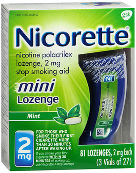 Nicorette Stop Smoking Aid Mini Lozenges 2 mg Mint - 81 ct