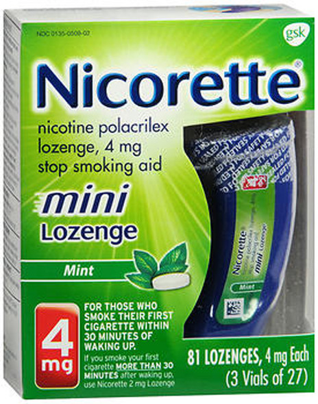 Nicorette Stop Smoking Aid Mini Lozenges 4 mg Mint - 81 ct