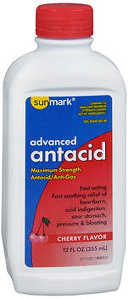 Sunmark Advanced Antacid Liquid Maximum Strength Cherry Flavor - 12 fl oz