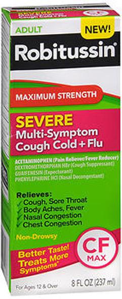 Robitussin Severe Multi-Symptom Cough Cold + Flu Liquid - 8 oz