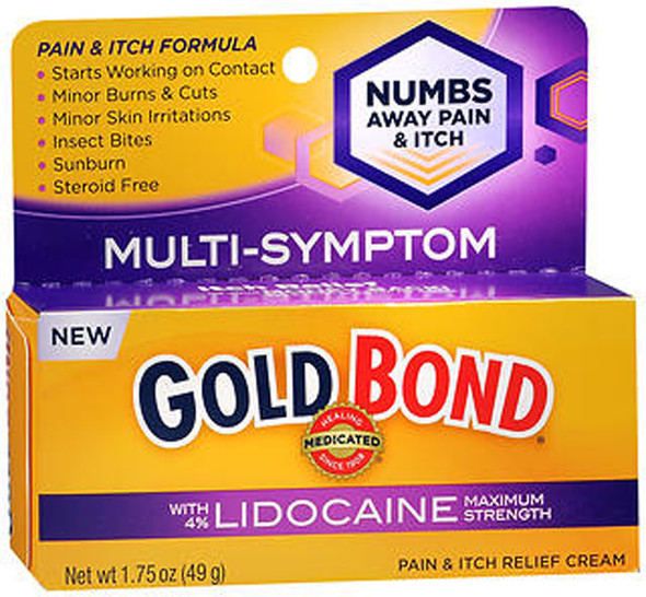 Gold Bond Medicated Pain & Itch Relief Cream with Lidocaine Maximum Strength - 1.75 oz