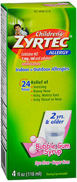Zyrtec Children's 24 Allergy Syrup Bubble Gum - 4 oz