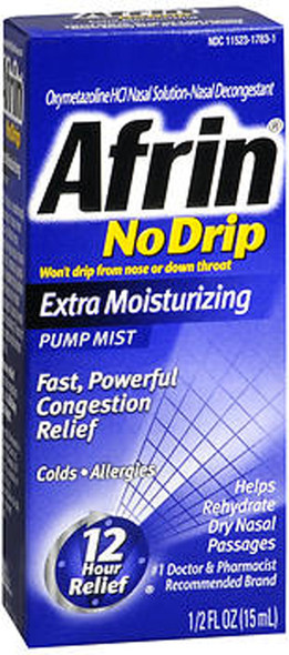 Afrin 12 Hour No Drip Pump Mist Extra Moisturizing - 0.5 oz