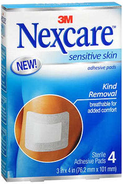 """3M Nexcare Adhesive Pads Sensitive Skin 3X4""""- 4 pads"""